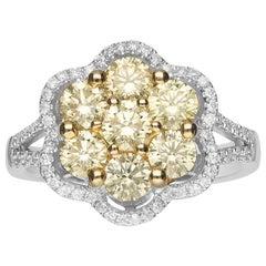 1 2/3 Carat Yellow Diamond and Diamond 18 Karat Gold Fine Ring