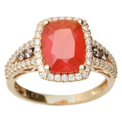 Cirari 1 8/9 Carat Fire Opal and Diamond 14 Karat Yellow Gold Art Deco Ring