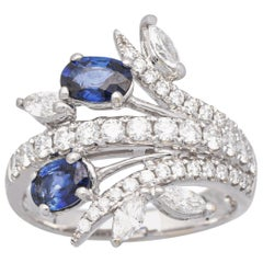 1 Carat Natural Blue Sapphire 18 Karat White Gold Statement Ring