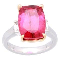 Cirari 10 3/7 Carat Rubellite and Diamond 18 Karat Two-Tone Gold Engagement Ring