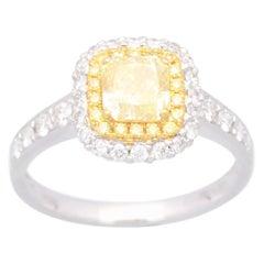 Cirari 1.02 Carat Yellow Diamond 18 Karat Two-Tone Engagement Ring