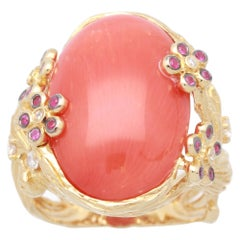Cirari 11 3/4 Carat Coral and Ruby 18 Karat Yellow Gold Contemporary Ring