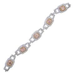 Cirari 1.25 Carat T.W. Pink Diamond 18 Karat Two-Tone Gold Bracelet