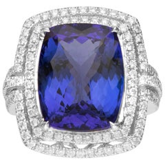 12.64 Carat Tanzanite and Diamond 18 Karat White Gold Ring