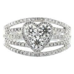 Cirari  1.34 Carat TDW Round Diamond 18 Karat White Gold Engagement Ring