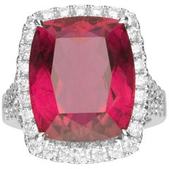 15.36 Carat Rubellite and Diamond 18 Karat Gold Engagement Ring
