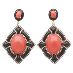 15.93 Carat Coral and Onyx 18 Karat Yellow Gold Earrings