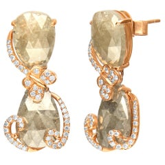 17.36 Carat Brown Diamond 18 Karat Rose Gold Earring
