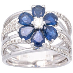 2 1/3 Carat Blue Sapphire and Diamond 18 Karat Gold Floral Cocktail Ring
