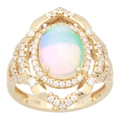 2 1/3 Carat Ethiopian Opal and Diamond 14 Karat Cocktail Ring