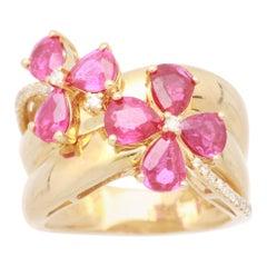 Cirari 2 1/3 Carat Ruby and Diamond 18 Karat Yellow Gold Cocktail Ring