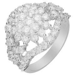 2/13 Carat Round Diamond 18 Karat White Gold Engagement Ring