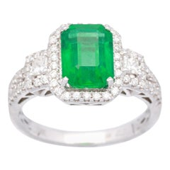 2 2/5 Carat Emerald and Diamond 18 Karat White Gold Engagement Ring