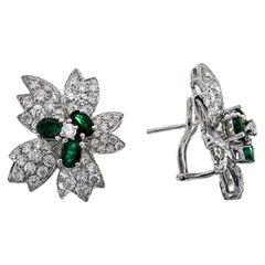 2 9/10 Carat Emerald 18 Karat White Gold Earrings