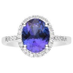 2.42 Carat Tanzanite and Diamond 14 Karat White Gold Ring