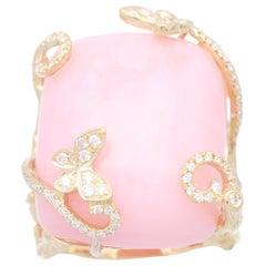 Cirari 25 1/5 Carat Pink Opal and Diamond 14 Karat Gold One of a Kind Ring