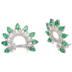 2.59 Carat Emerald and Diamond 18 Karat White Gold Earrings