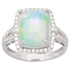2.79 Carat Ethiopian Opal and Diamond 14 Karat Engagement Ring