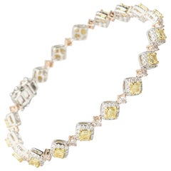 Cirari 2.90 Carat Fancy Yellow Diamond 18 Karat Three-Tone Gold Bracelet
