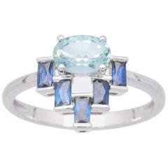 Cirari 3/4 Carat Aquamarine and Blue Sapphire 18 Karat Cocktail Ring