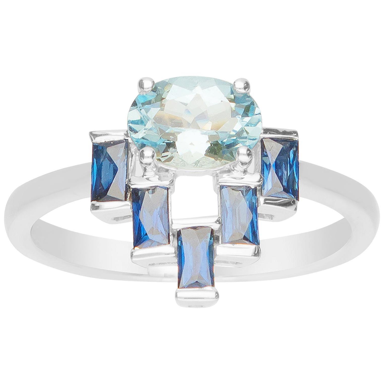 3/4 Carat Aquamarine and Blue Sapphire 18 Karat Cocktail Ring