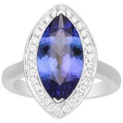 4 2/5 Carat Tanzanite and Diamond 18 Karat White Gold Ring