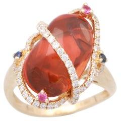 Cirari 4 5/9 Carat Jelly Fire Opal and Diamond 14 Karat Gold Belle Époque Ring
