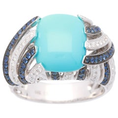 4.09 Carat Turquoise with Blue Sapphire & Diamond 14 Karat Cocktail Ring