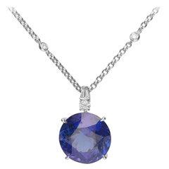 44.73 Carat Tanzanite and Diamond 18 Karat White Gold Pendant Necklace