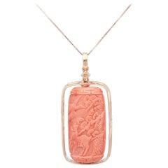 45.92 Carat Coral 18 Karat Rose Gold Carved Pendant Necklace