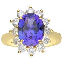 4.74 Carat Tanzanite and Diamond 18 Karat Yellow Gold Ring