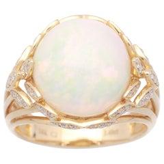 Cirari 5 1/2 Carat Ethiopian Opal and Diamond 14 Karat Art Deco Ring