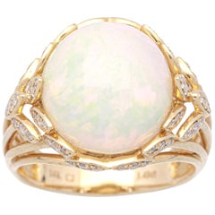 5 1/2 Carat Ethiopian Opal and Diamond 14 Karat Art Deco Ring