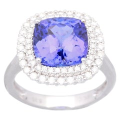 Cirari 5 1/3 Carat Tanzanite and Diamond 18 Karat Gold Engagment Ring