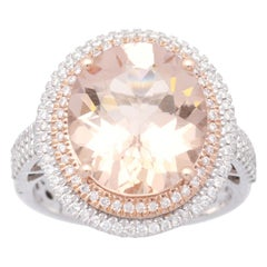 Cirari 6 1/4 Carat Morganite and Diamond 14 Karat Two-Tone Gold Engagement Ring