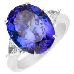 7.49 Carat Tanzanite and Diamond 14 Karat White Gold Ring