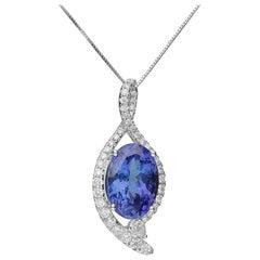 Cirari 7.94 Carat Tanzanite and Diamond 18 Karat White Gold Necklace