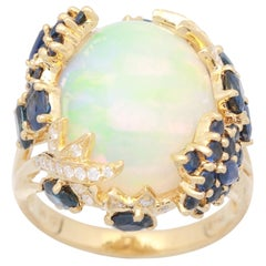 8 1/9 Carat Ethiopian Opal and Diamond 18 Karat Yellow Gold Fine Ring