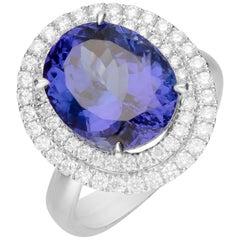 9.29 Carat Tanzanite and Diamond 18 Karat White Gold Ring