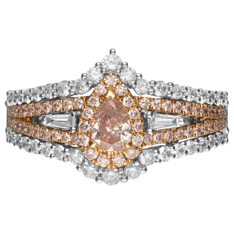 GIA Certified 0.30 Carat Pink Diamond 18 Karat Two-Tone Engagement Ring For Sale