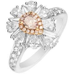 GIA Certified 0.41 Carat Pink Diamond 18 Karat Two-Tone Gold Ring