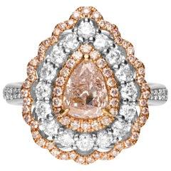 GIA Certified 1.01 Carat Pink Diamond 18 Karat Engagement Ring