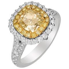 GIA Certified 2 Carat Yellow Diamond 18 Karat Two-Tone Engagement Ring