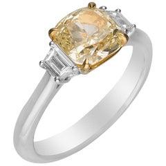 GIA Certified 2.04 Carat Yellow Diamond 18 Karat Two-Tone Engagement Ring