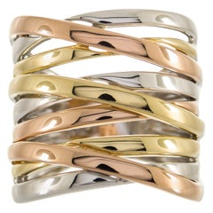 Three-Tone Gold Multilayered Cocktail Ring
