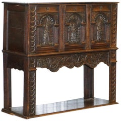 English Oak Hand Carved Gothic Jacobean Style Large Cupboard Bureau, circa 1700