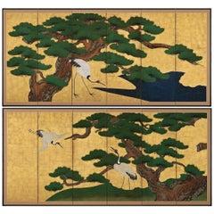 Circa 1700 Japanese Screen Pair, Cranes & Pines, Kyoto Kano School