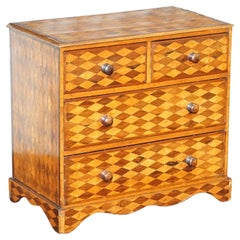 Continental Mahogany & Satinwood Parquetry Miniature Chest of Drawers circa 1740
