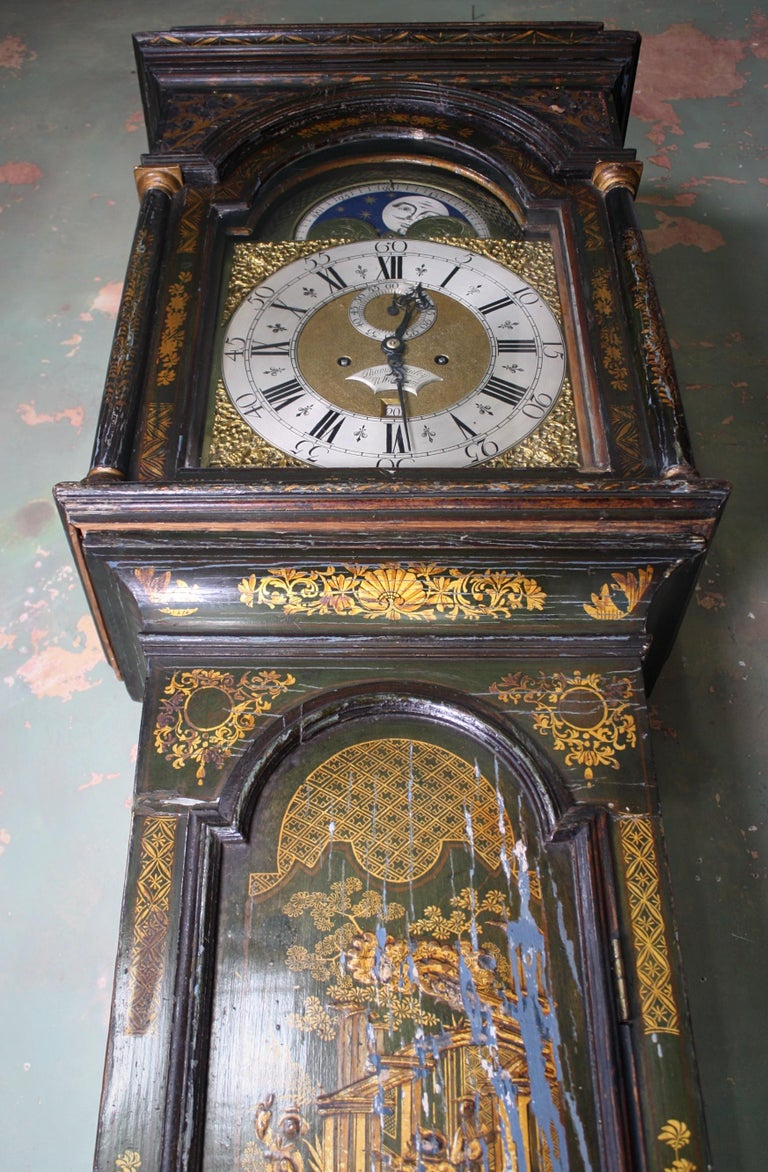 George II Thomas Haley Green Chinoiserie Long Case Clock, circa 1740 For Sale 6