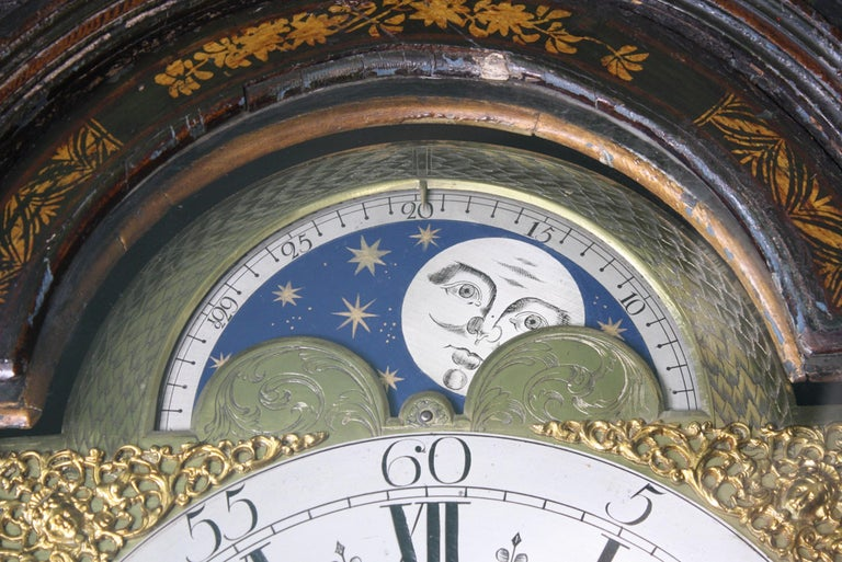 George II Thomas Haley Green Chinoiserie Long Case Clock, circa 1740 For Sale 7